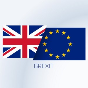 brexit concept background with uk and eu flags